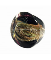 Кольцо плоское темное с узором муранское стекло
