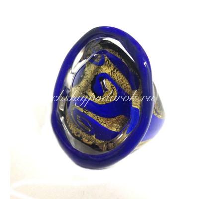 Кольцо синее с сусальным золотом из Муранского стекла