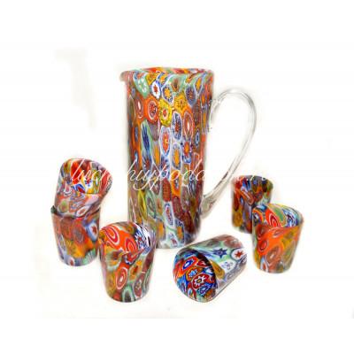 Набор кувшин со стаканами из муранского стекла