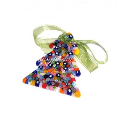 Новогодняя игрушка Елка миллефиори из муранского стекла