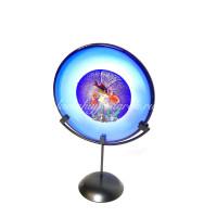 Аквариум диск на подставке синий из муранского стекла