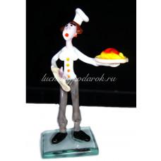 Фигурка веселый повар из муранского стекла
