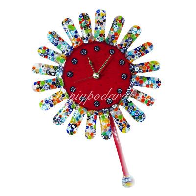 Часы настенные Солнце с мурринами из муранского стекла