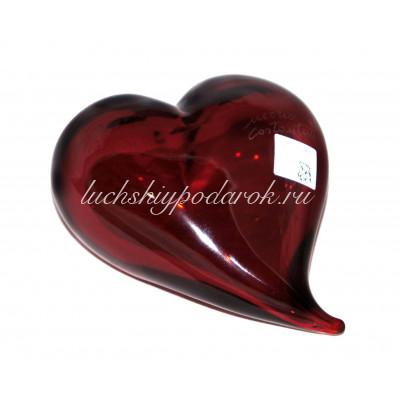 Скульптура Сердце красное из муранского стекла