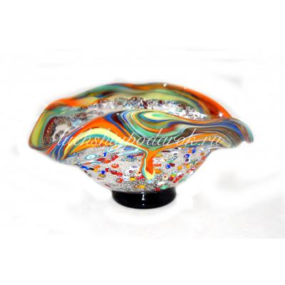 Чаша из муранского стекла с мурринами и серебром