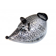 Фигурка Мышка с серебром из Муранского стекла