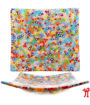 Блюдо Квадратное Миллефиори муранское стекло