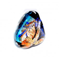 Кольцо Круглое с узором голубое с золотом