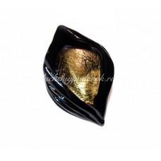 Кольцо Лист с золотом из Муранского Стекла