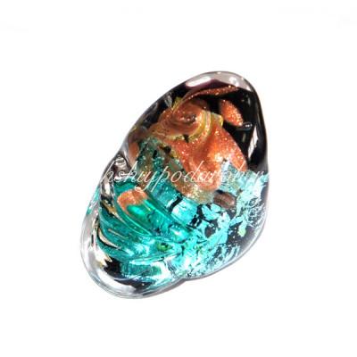 Кольцо Метеорит Изумрудное из Муранского Стекла