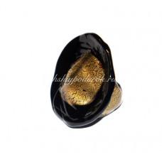 Кольцо черное с золотом из Муранского Стекла