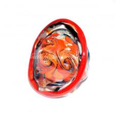 Кольцо Lume красное с узором из Муранского Стекла