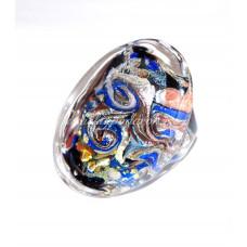 Кольцо Grande плоское с узором из Муранского стекла
