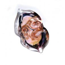 Кольцо Grande розовое с узором из Муранского стекла