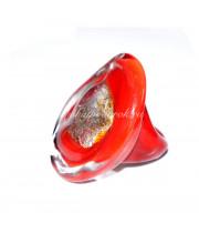 Кольцо Grande красное с серебром из Муранского стекла