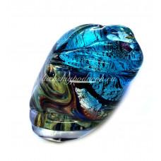 Кольцо голубой камень с узором из муранского стекла
