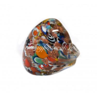 Кольцо из муранского стекла Арлекино кабашон