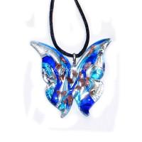 Подвеска бабочка люме с серебром из муранского стекла