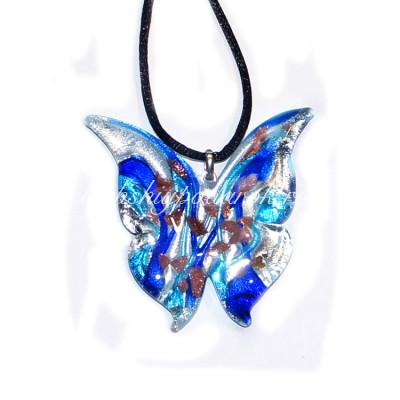 Подвеска Бабочка люме синяя с серебром из Муранского стекла