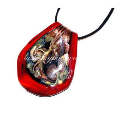 Подвеска Grande красная с узором из Муранского стекла