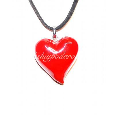 Подвеска Сердце красное люме из Муранского стекла