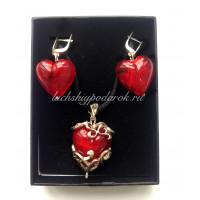 Набор сердца красные из муранского стекла