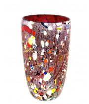 Ваза для цветов арлекино красная из муранское стекло