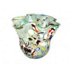 Ваза Фацалетто Арлекино голубая с серебром из Муранского стекла