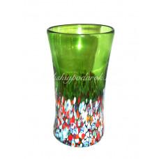 Ваза с мурринами зеленая муранское стекло