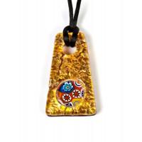 Подвеска Золотая трапеция с мурриной из Муранского стекла