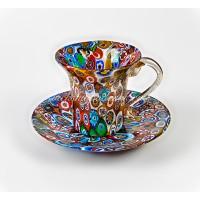 Чашка с блюдцем миллефиори из Муранского стекла