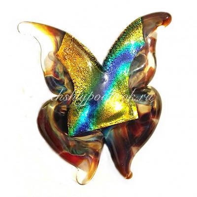Брошь Бабочка Farfalla хальцидон  из муранского стекла