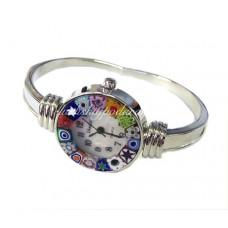 Часы из муранского стекла миллефиори на металлическом ремешке