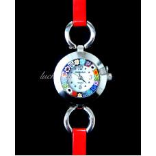 Часы наручные миллефиори с тонким ремешком