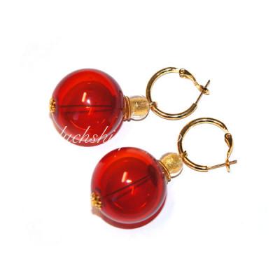 Серьги круглые софиатто красные из муранского стекла