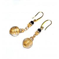 Серьги из муранского стекла с золотом