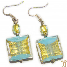 Серьги квадраты с золотом из муранского стекла