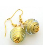 Серьги круглые с золотом из муранского стекла
