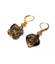 Серьги ARMANI с золотом из муранского стекла