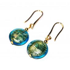 Серьги из муранского стекла линзы с золотом